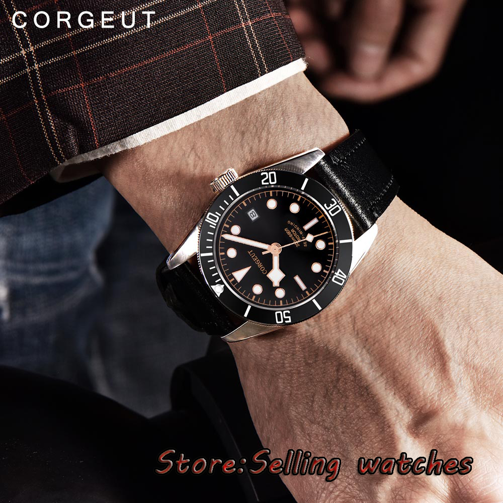 41mm corgeut black dial Sapphire Glass 21 jewels miyota Automatic diving mens Watch 41mm corgeut black dial sapphire glass 21 jewels miyota automatic mens watch c14