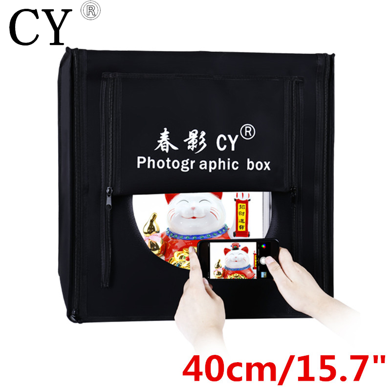 CY 40*40cm LED Photo Studio Softbox Shooting Light Tent Soft Box + Portable Bag + AC Adapter for Jewelry Toys Shoting cy 70 70 70cm led photo studio softbox shooting light tent soft box portable bag ac adapter for jewelry toys shoting