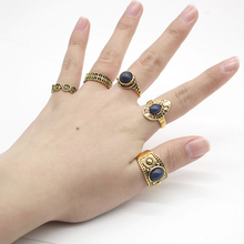 Fashion 5 Piece / Set Of Vintage Engraved Auspicious Cloud Ring Bronze Silver Steampunk Natural Blue Stone Woman Gift