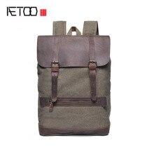 AETOO Shoulder Bag Men 's Canvas Bundles Cowboy Large Capacity Men' s Style Retro Backpack Bag