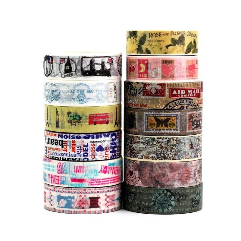 1.5cmx10m Decorative Retro Washi Tape Paper Set DIY Scrapbooking Planner Vintage Map Stamp Masking Tape Adhesive Tape Stationery