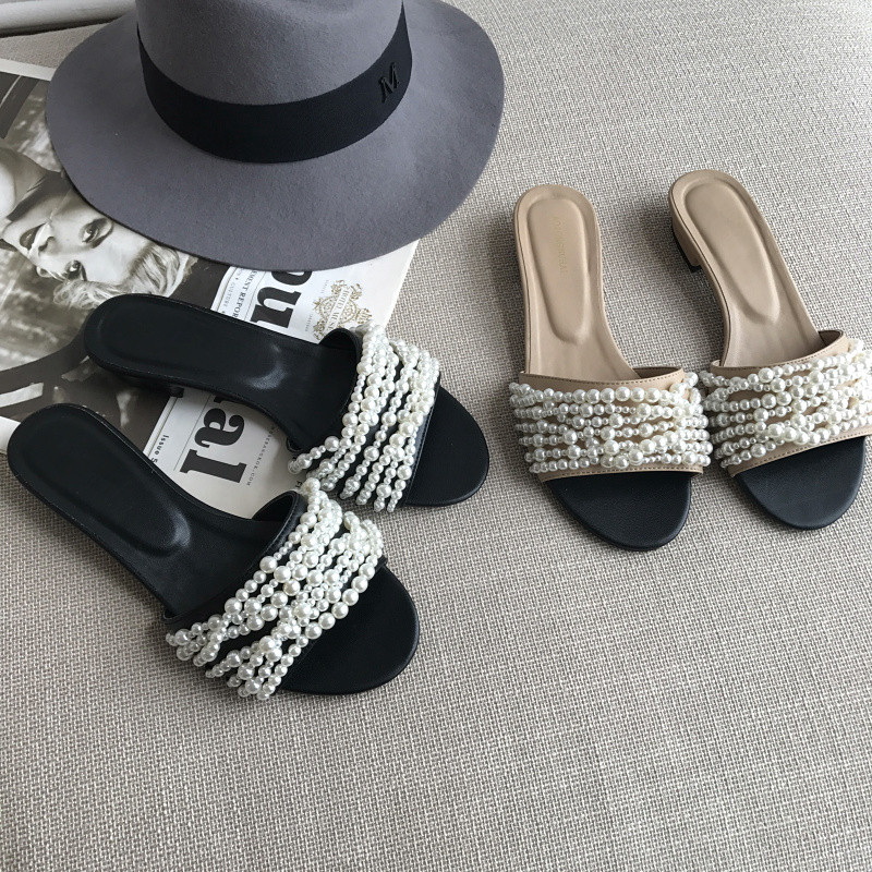 2018 New Spring Summer Shoes Woman Casual Slippers Designer Leather Pearls Open Toe Woman Cozy Flats Outside Slides Woman Shoes woman slides summer beach shoes open toe metal belt buckle design shoes woman chic women flats open toe snake pattern slipper