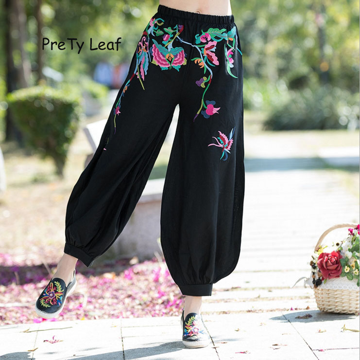 2018 national wind spring embroidery cotton loose   wide     leg     pants