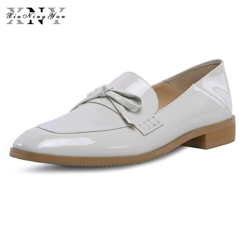 XiuNingYan Brand Women Flats Shoes Woman Casual Loafers Round Toe Black Oxford Genuine Leather Slip-on Women's Shoes Big Size 43 odetina 2017 new women pointed metal toe loafers women ballerina flats black ladies slip on flats plus size spring casual shoes