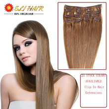 Human Hair Clip In Extensions Free Shipping Grade 7A Virgin Hair Clip on Extensions Brazilian Hair Real Human Hair Extensions