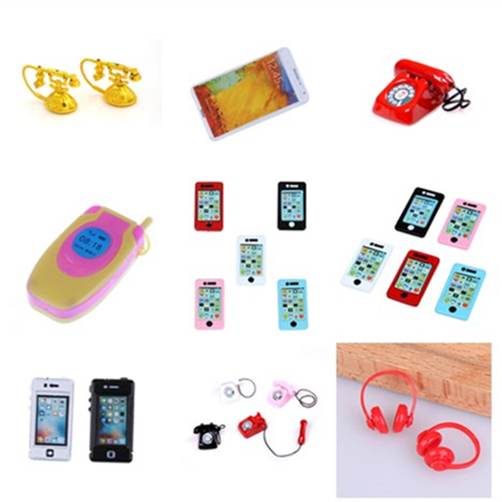 1/2PCS 1:6/1:12 Scale Mini Pad Phone Earphone Vintage Telephone Dollhouse Miniature Toy Doll Living Room Dolls Accessories