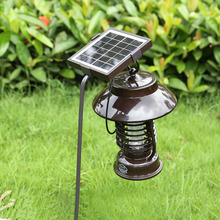 Solar Mosquito killer lamp Camping light Perfect quality LED Solar Iron art Outdoor lighting LED solar handle lamp Insert Lamp
