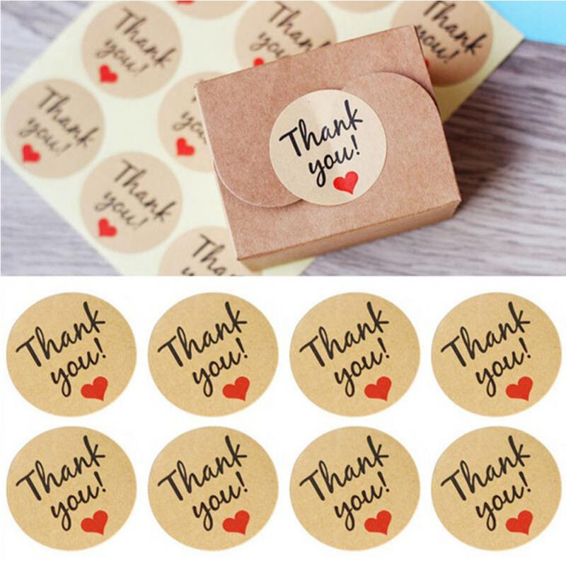 120Pcs/10Sheets Thank You Sealing Crafts Wedding love Heart Letter Card candy/biscuit/cookie Xmas greeting DIY Sticker Labels