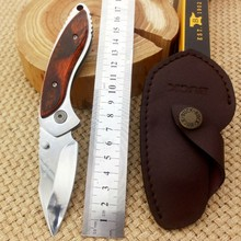 Camping Knife  BUCK Pocket Folding Blade Knives with Leather Sheath Survival Knifes Outdoor EDC Tools BK1