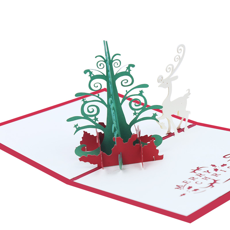 new design christmas tree handmade 3d pop up for new year card chirstmas greeting cards