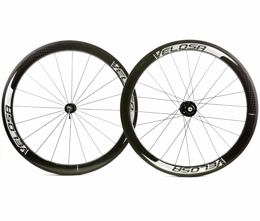 Free shipping 50mm depth fixed gear bike carbon wheelset 700C Track Cycling Tubular 25mm width carbon wheels 12K Glossy finish
