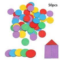 50 шт. фигурка арифметика детская Математика круговой цвет деревянные игрушки математическая Геометрия деревянный чип Монтессори обучающая игрушка для детей