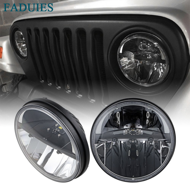 FADUIES 1 Pair Black 7 Inch Round 36W LED Headlights High/Low Beam For Jeep Wrangler CJ JK TJ 2007 2017
