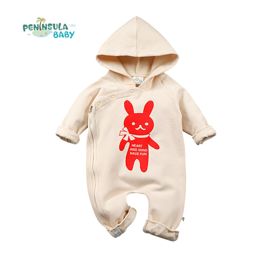 2016 Newborn Baby Clothes Hooded Baby Romper Infant Boys Girls Long Sleeve Jumpsuits Cartoon Clothing Baby Outwear Warm 0 3y baby boys girls infants clothes long sleeve rompers outfits newborn infant kids winter clothing jumpsuits baby outwear