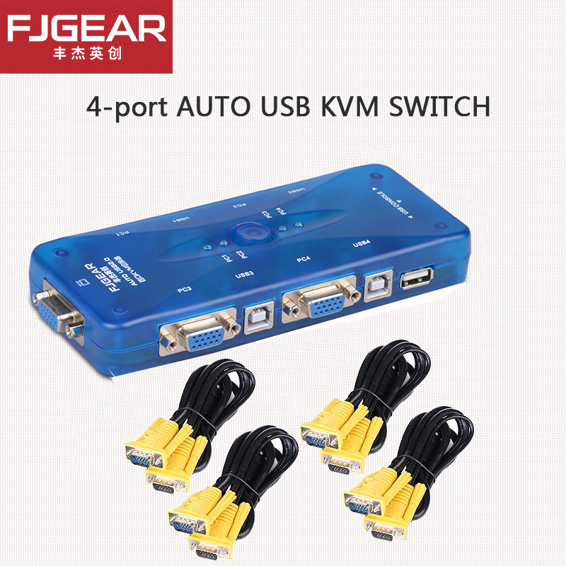 FJGEAR 4 Port AUTO KVM SWITCH USB Hub Switch Box Selector Adattatore con 4 pz Cavo VGA per PC Tastiera Mouse Monitor 1920*1440 mouse keyboard penetrator file data sharer clipboard sharing 1 km set control 2 host pc linker kvm switch without vga usb gadget