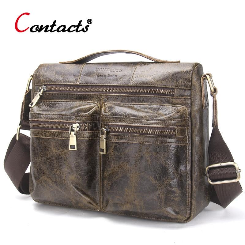 CONTACT'S Men messenger bag leather Handbag Cowhide Men Crossbody Bag male Shoulder Business Laptop Briefcase Travel Bag for Man цена и фото