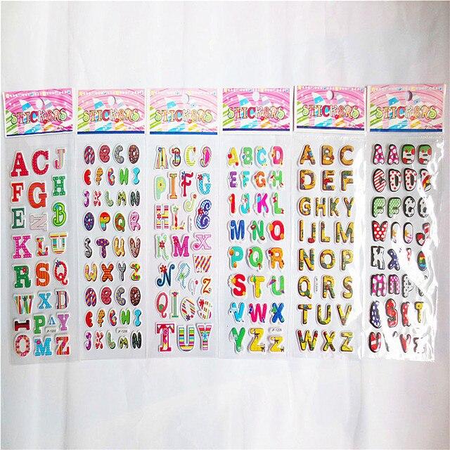 Al azar 6 hojas lindo alfabeto 3D pegatinas diario PVC puffy ...