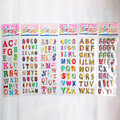 Random 3 sheets cute alphabet 3D stickers diary PVC puffy reward children kawaii letter bubble stickers for notebook