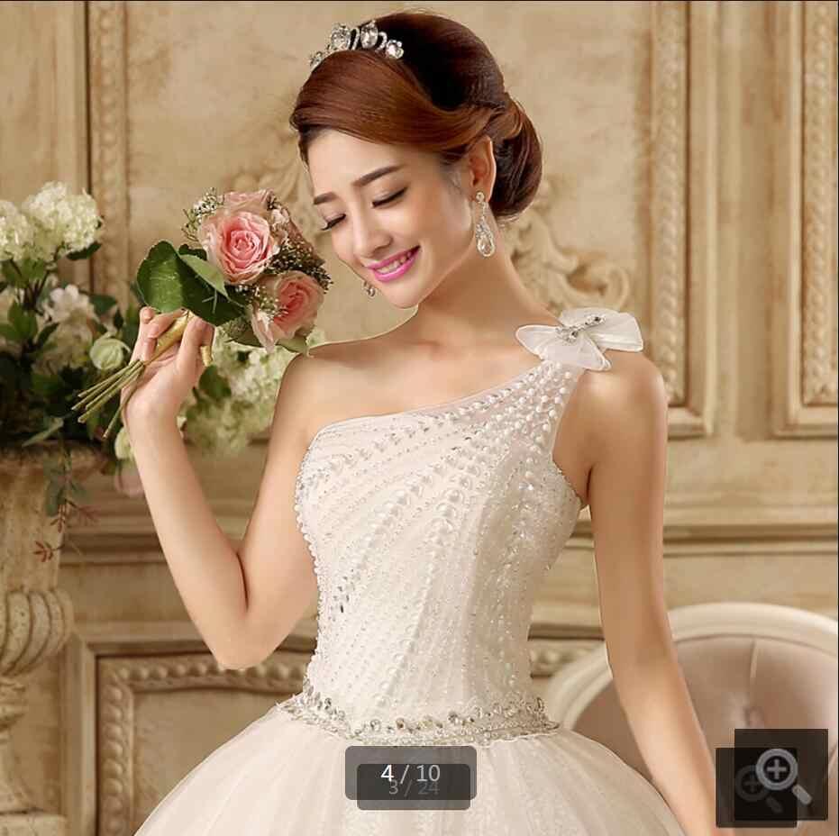 חורף 2015 מדהים לבן אגלי כתף אחת רצועת מחוך שמלות כלה תחרה עד אפליקציות אורך רצפת שמלות כלה
