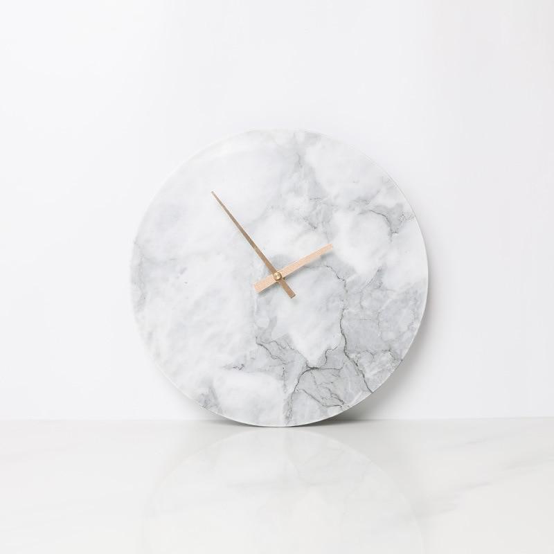 Marmuru zegar minimalistyczny nowoczesny Design zegary ścienne kuchnia sztuki Nordic osobowości zegarek ścienny akcesoria do dekoracji domu w Zegary ścienne od Dom i ogród na  Grupa 1