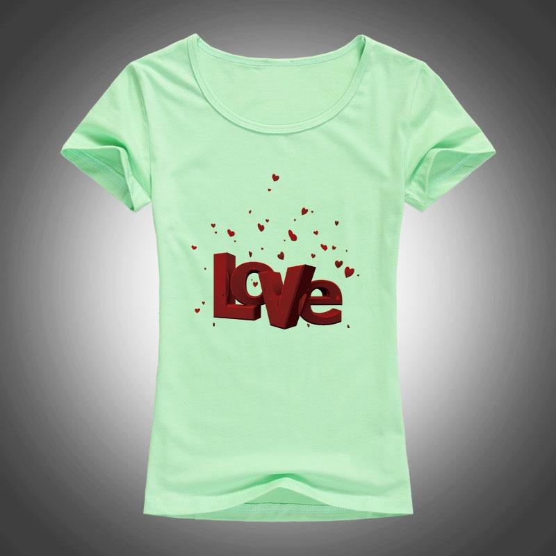 Sommer Neue Frauen T Shirts Valentinstag Liebesbrief Gedruckt T - Damenbekleidung - Foto 5