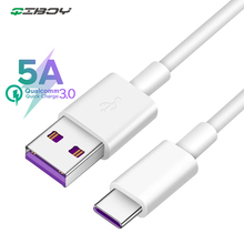 QIBOY For Huawei USB 5A Type C Cable P30 Pro lite Mate 9 10 P10 Plus V10 3.1 Type-C Supercharge Super Charger