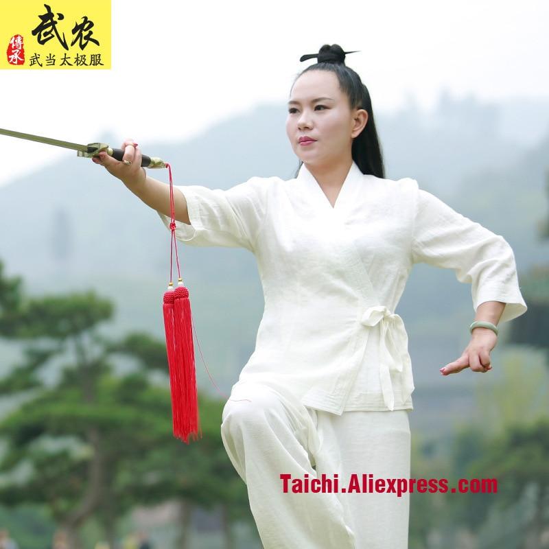 Linen Woman Female Oblique Lapel Short Sleeves Tai Chi Suit  Martial Art Uniforms Wudang  White Color