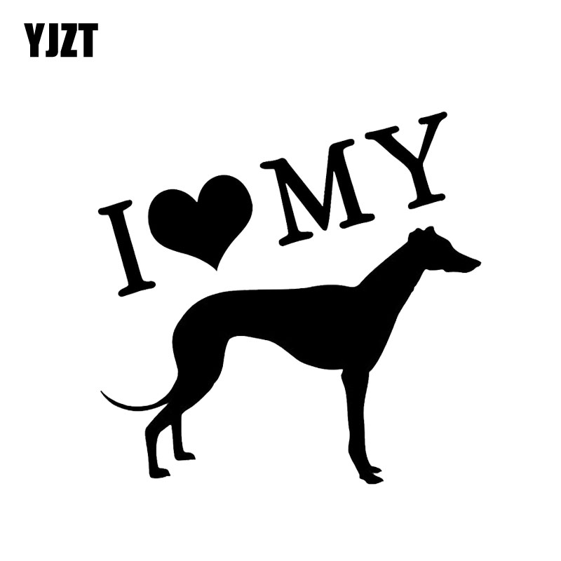 YJZT 14CM*14CM I Love My Pet Greyhound Car Window Decoration Car Sticker Black/Silver C2-3043 ...