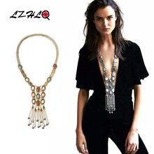 Lzhlq женское ожерелье с длинной кистями длинное цыганское модные