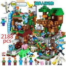 2188 шт. мой мир драконы цифры строительные Конструкторы Legoed Minecrafted деревня Warhorse город водопад деревья из джунглей дом игрушечные лошадки подарок