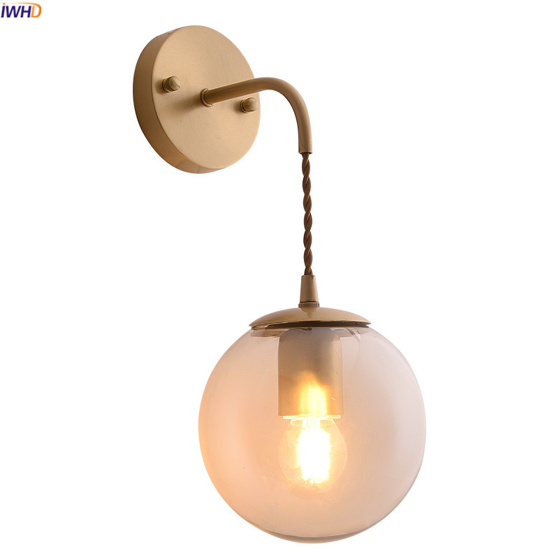 IWHD Glass Ball Nordic LED Wall Lights Fixtures Bedroom ...