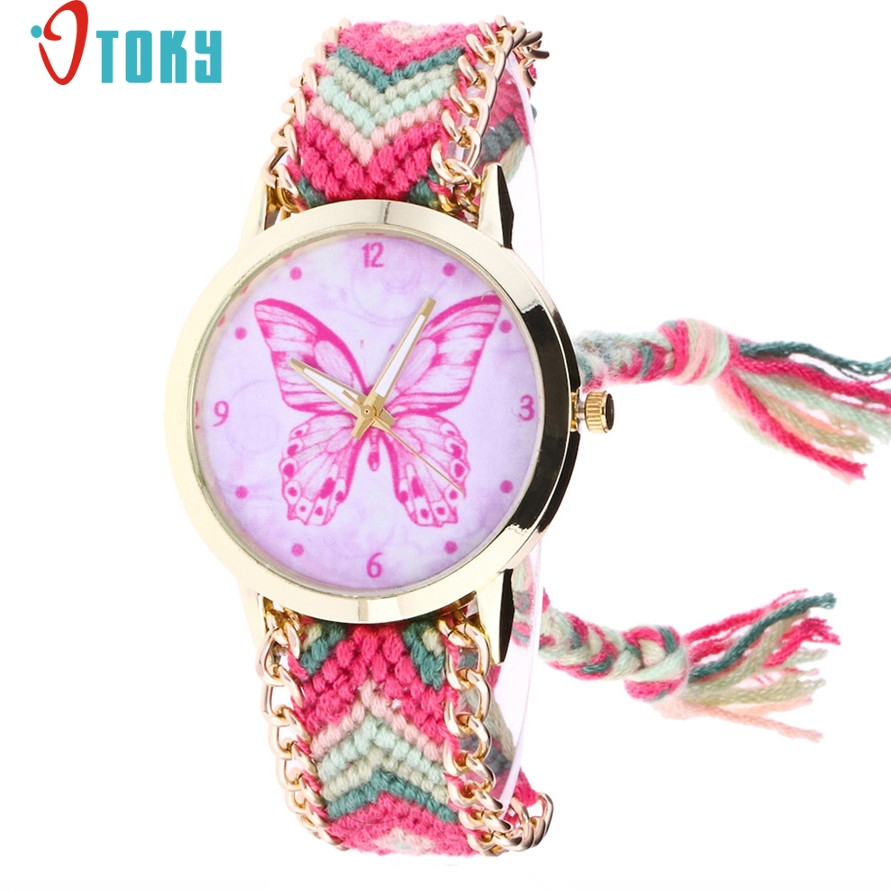 Free Shipping Pink Butterfly Watch Weaved Rope Chain Bracelet Quartz WristWatch 170630