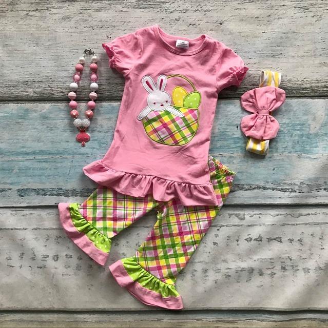 Bebé chicas conejito de pascua ropa niños top rosa con Azect capri pant trajes niñas conjuntos de fiesta de pascua con accesorios
