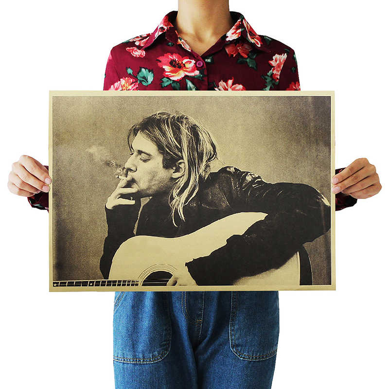 DLKKLB Kurt Cobain Nirvana Frontman Rock Poster Kraft Paper Cafe Bar Poster Retro Poster Wall Sticker Home Decoration