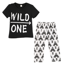 Baby Boy Clothes Letter Printed Short Sleeve T-shirt +Pants Suit Clothing Set