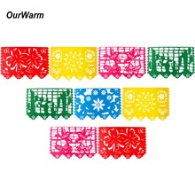 OurWarm Felt Banner Bunting Birthday Party Decorations Bandiere messicane e banner per Baby Shower Decorazione di nozze Papel Picado