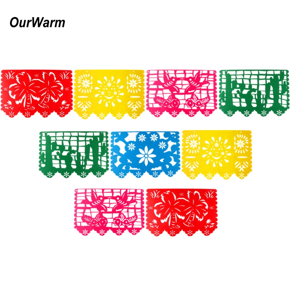 OurWarm Felt Banner Bunting Birthday Party Decorations Mexican Flags and Banners for Baby Shower Wedding Decoration Papel Picado