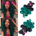 7A ombre turquoise green malaysian body wave virgin hair 3pcs human hair bundles dark roots peacock green ombre hair extensions