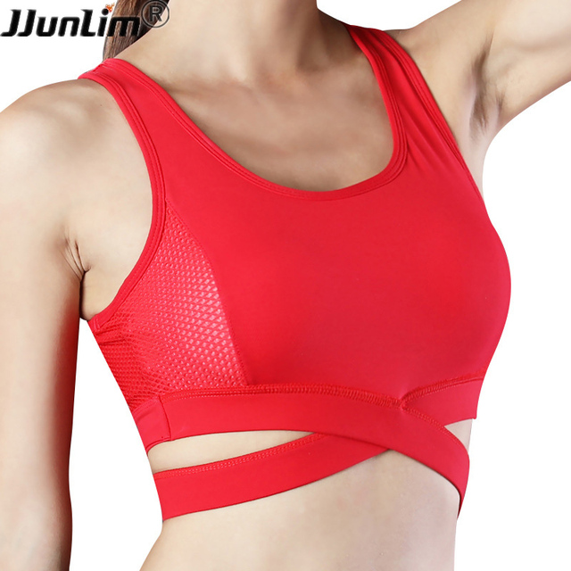 d04e40605f1e5 Women Sexy Sport Bra Cross Top Shakproof Padded Sports Bra Women Push Up  Running Gym Fitness Yoga Bra Athletic Workout Bras