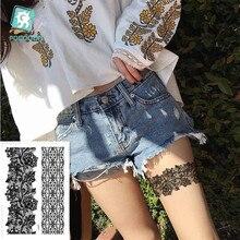 Rocooart Brand New Trendy black temporary arabic tattoo lace henna tattos sticker choker fake body flash Tatoo