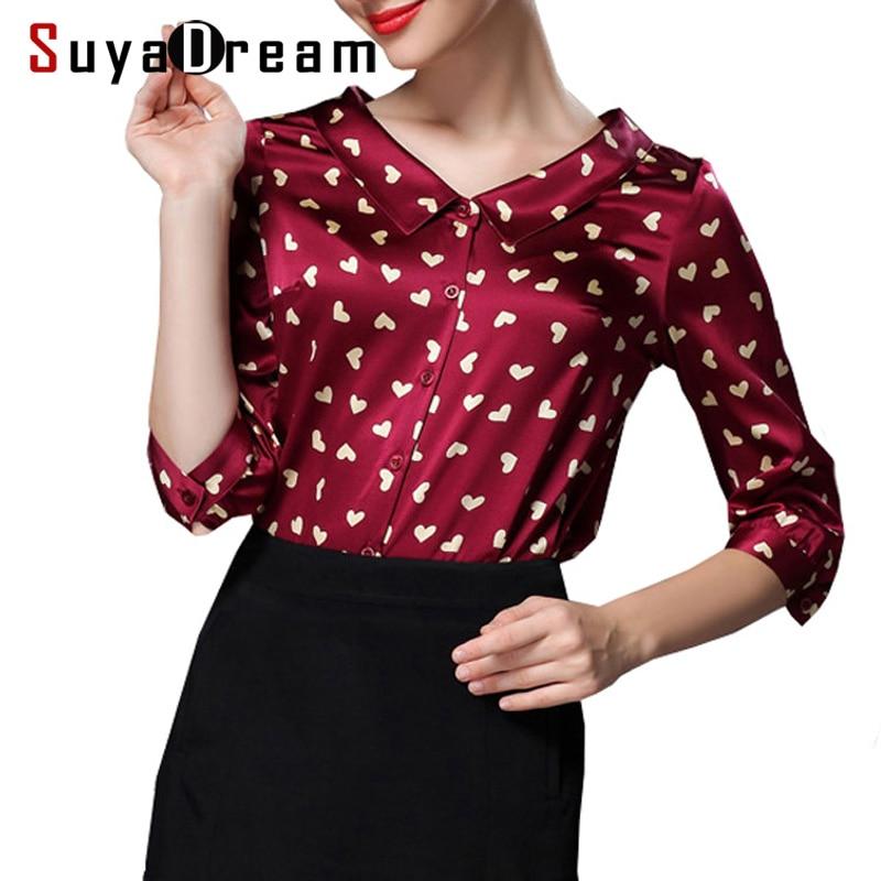 여성 실크 셔츠 92% 천연 실크 8% 스판덱스 버튼 3/4 sleeved office lady shirt 2018 가을 겨울 새 셔츠-에서티셔츠부터 여성 의류 의  그룹 1