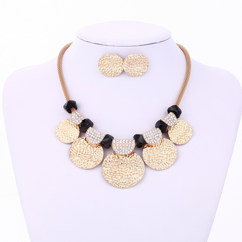 Fashion Gold Silver Plated Jewelry Sets Maxi Necklaces & Pendants Bib Choker Chunky bijoux Statement Necklace earrings Set