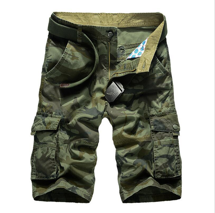 2017 Mens Casual Camouflage No belt Shorts Men Loose Cargo Shorts Men Multi-pocket Military Short homme w180