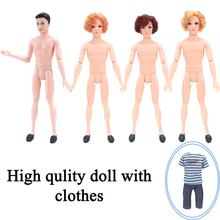 1 Full Nude Doll with Head for Barbie Dolls 14 Joint Moving Naked Bodies DIY Toys Accessories Boyfriend Male Doll For Ken Doll