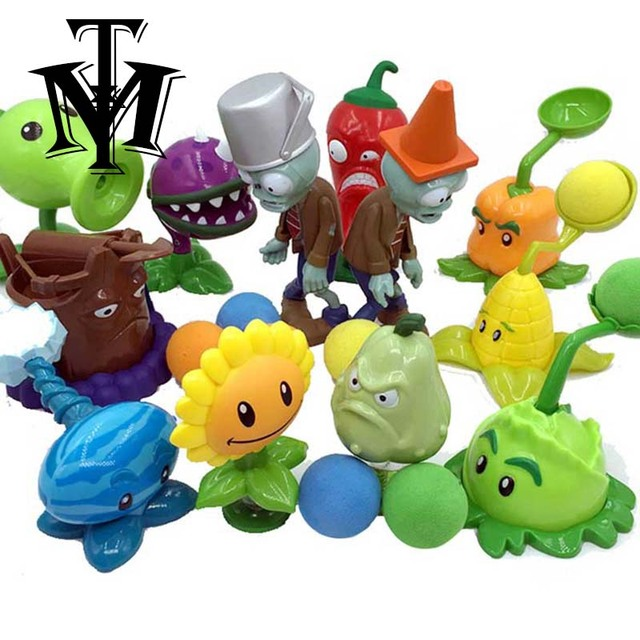 Funny Plants vs Zombies Game PVZ Pea Shooter Sunflower Squash Toys for children Action Figure Model Doll Baby for Kids Gifts box
