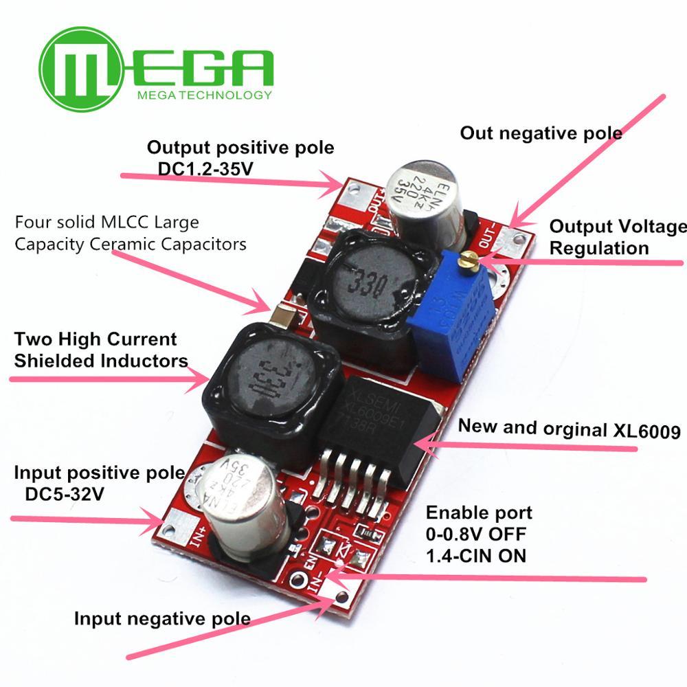 Boost бак DC-DC регулируемый шаг вверх-вниз конвертер XL6009 Питание модуль 20 Вт преобразователь постоянного тока в постоянный ток 5-32 В до 1,2-35V