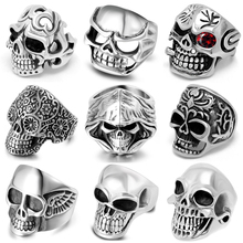 7-12 Size Punk Rock Skull Finger Rings Gothic Hell Death Signet Ring Stainless Steel For Men High Quality Jewelry Gift 2019