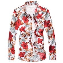 Flower shirt large size S-7XL mens square collar flower long sleeve 100% cotton comfortable slim casual