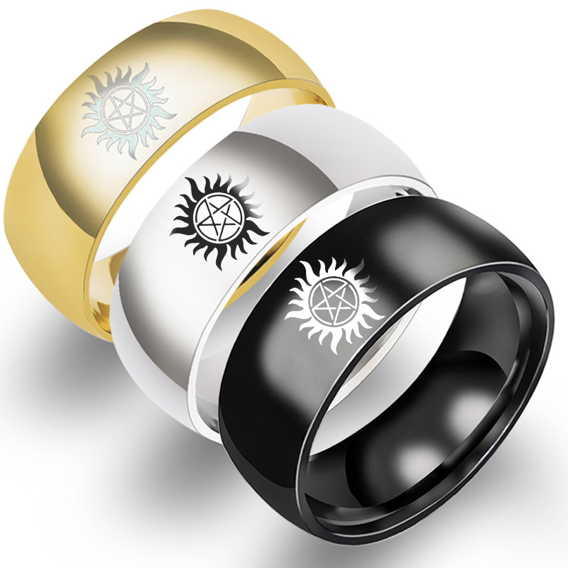 Stainless Steel 8mm Sun Force Evil Supernatural Ring For Men Boyfriend Cool Jewelry Party Gift in Rings from Jewelry Accessories
