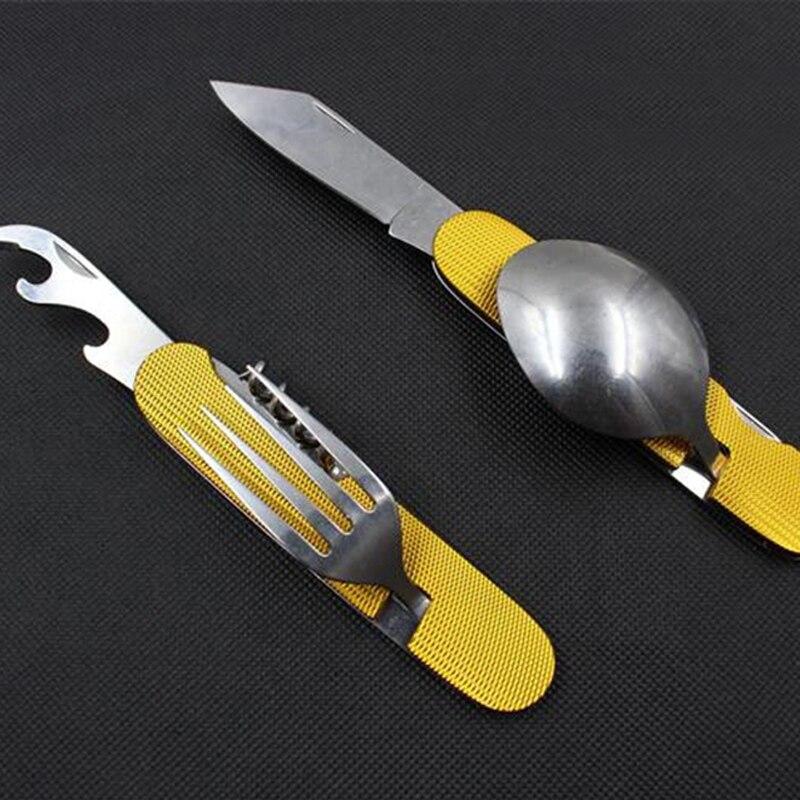 Portátil camping multifunción viaje cubertería exterior picnic plegable piknik almuerzo spork senderismo bolsillo cuchillo tenedor conjunto